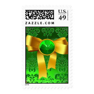GREEN DAMASK  WITH  YELLOW RIBBON AND SHAMROCK POSTAGE