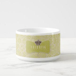 Green Damasks Background Charming Crown Label Bowl
