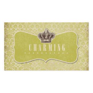Green Damasks Background Charming Crown Label Business Card Templates
