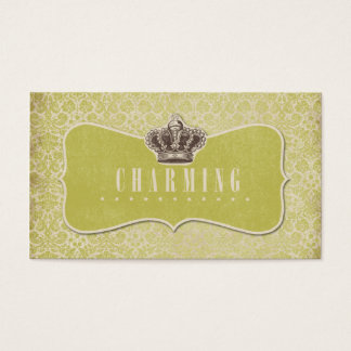 Green Damasks Background Charming Crown Label Business Card