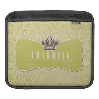 Green Damasks Background Charming Crown Label iPad Sleeves