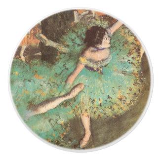 Green Dancer by Edgar Degas, Vintage Ballet Art Ceramic Knob