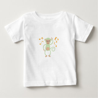 Green dancing monkey baby white shirt