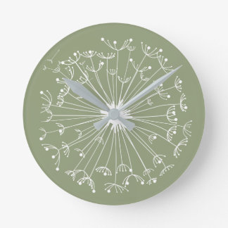 Green Dandelions Round Clock