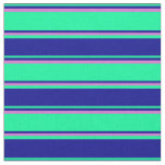 [ Thumbnail: Green, Dark Blue, and Orchid Pattern of Stripes Fabric ]
