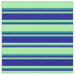 [ Thumbnail: Green, Dark Blue, and Teal Colored Lines Pattern Fabric ]