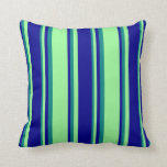 [ Thumbnail: Green, Dark Blue, and Teal Colored Lines Pattern Throw Pillow ]