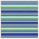 [ Thumbnail: Green & Dark Blue Colored Stripes Pattern Fabric ]