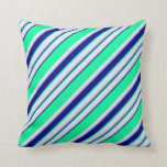 [ Thumbnail: Green, Dark Blue, Grey, and Lavender Pattern Throw Pillow ]