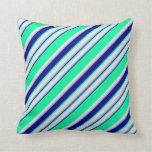[ Thumbnail: Green, Dark Blue, Grey, and Lavender Pattern Throw Pillow ]