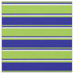 [ Thumbnail: Green, Dark Blue & Lavender Stripes/Lines Pattern Fabric ]