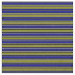 [ Thumbnail: Green & Dark Blue Lines Fabric ]