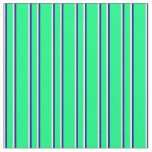 [ Thumbnail: Green, Dark Blue & Mint Cream Colored Lines Fabric ]