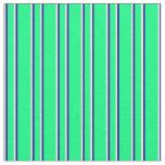 [ Thumbnail: Green, Dark Blue & Mint Cream Colored Lines Fabric ]