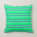 [ Thumbnail: Green, Dark Blue & Mint Cream Colored Lines Pillow ]