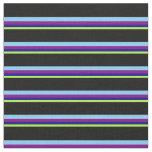 [ Thumbnail: Green, Dark Blue, Purple, Light Sky Blue & Black Fabric ]