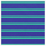 [ Thumbnail: Green & Dark Blue Striped Pattern Fabric ]