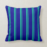 [ Thumbnail: Green & Dark Blue Striped Pattern Throw Pillow ]