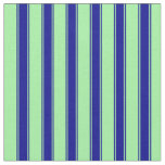 [ Thumbnail: Green & Dark Blue Stripes Pattern Fabric ]
