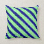 [ Thumbnail: Green & Dark Blue Stripes Pattern Throw Pillow ]