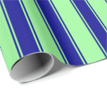 [ Thumbnail: Green & Dark Blue Stripes Pattern Wrapping Paper ]