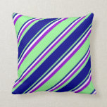 [ Thumbnail: Green, Dark Blue, White, and Dark Violet Colored Throw Pillow ]