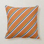 [ Thumbnail: Green, Dark Blue, White & Chocolate Lines Pillow ]