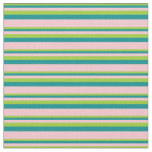[ Thumbnail: Green, Dark Cyan, and Pink Stripes Fabric ]