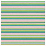 [ Thumbnail: Green, Dark Cyan, and Pink Stripes Fabric ]