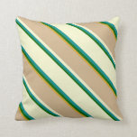 [ Thumbnail: Green, Dark Cyan, Light Yellow, Tan & Goldenrod Throw Pillow ]