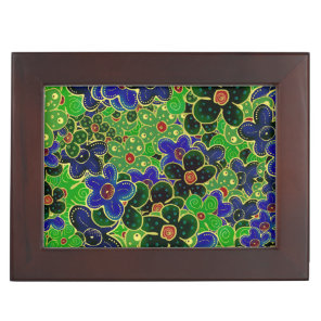 green dark forest maroon blue flowers keepsake box