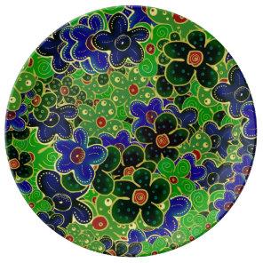 green dark forest maroon blue flowers plate