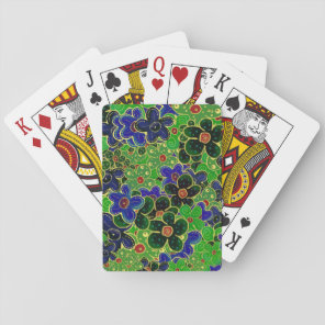 green dark forest maroon blue flowers playing cards