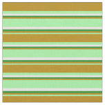 [ Thumbnail: Green, Dark Goldenrod, Forest Green & White Lines Fabric ]