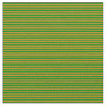 [ Thumbnail: Green & Dark Goldenrod Lined Pattern Fabric ]