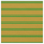 [ Thumbnail: Green & Dark Goldenrod Lined Pattern Fabric ]