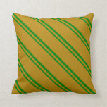 [ Thumbnail: Green & Dark Goldenrod Lined Pattern Throw Pillow ]