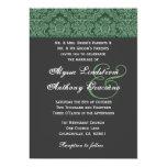 Green Dark Gray  Damask Wedding Invitation