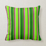 [ Thumbnail: Green, Dark Green, Brown, and Orchid Colored Throw Pillow ]