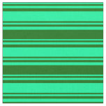 [ Thumbnail: Green & Dark Green Pattern of Stripes Fabric ]