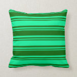 [ Thumbnail: Green & Dark Green Pattern of Stripes Throw Pillow ]