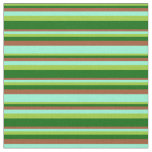 [ Thumbnail: Green, Dark Green, Sienna & Aquamarine Pattern Fabric ]