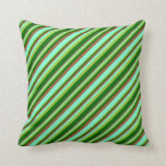 [ Thumbnail: Green, Dark Green, Sienna & Aquamarine Pattern Throw Pillow ]