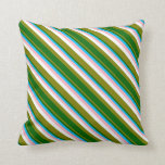 [ Thumbnail: Green, Dark Green, Sky Blue, Light Pink & White Throw Pillow ]