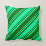 [ Thumbnail: Green & Dark Green Striped Pattern Throw Pillow ]
