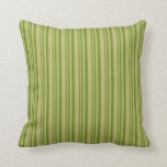 [ Thumbnail: Green & Dark Khaki Colored Striped/Lined Pattern Throw Pillow ]