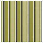 [ Thumbnail: Green, Dark Khaki, Light Yellow, and Black Lines Fabric ]