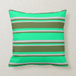 [ Thumbnail: Green, Dark Olive Green, and Light Grey Colored Throw Pillow ]
