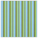 [ Thumbnail: Green, Dark Olive Green & Light Sky Blue Lines Fabric ]