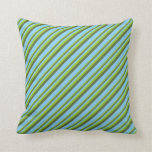[ Thumbnail: Green, Dark Olive Green & Light Sky Blue Lines Throw Pillow ]
